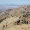Deer hunters descend from the summit of Deseret Peak.- Deseret Peak Hike
