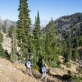 Hikers descending from Deseret Peak.- Deseret Peak Hike