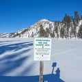 Sign at the dock.- Echo Lake Snowshoe