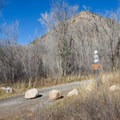 Little Mountain and trail crossing in Affleck Park Campground.- Affleck Park Campground