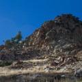 Scramble onto the ridge just right of the Gazex tube.- Mount Superior