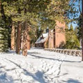 Park pumphouse.- Yellow Trail Snowshoe in Sugar Pine Point State Park