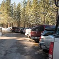 The parking lot for the Omega Diggings Overview Trail.- Omega Diggins Overlook Hike