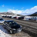 Parking for the Chickadee Ridge snowshoe is along the busy Mount Rose Highway.- Chickadee Ridge Snowshoe