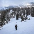 Climbing to views across the northern Tahoe Basin.- Chickadee Ridge Snowshoe