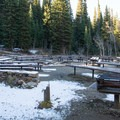 Typical campsite in Jordan Pines Group Campground.- Jordan Pines Group Campground