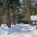 West entrance to Sugar Pine Point State Park.- Red Trail Snowshoe in Sugar Pine Point State Park