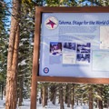1960 Winter Olympic infographic.- Red Trail Snowshoe in Sugar Pine Point State Park