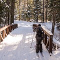 Bridge on the Red Trail at Sugar Pine Point State Park.- Red Trail Snowshoe in Sugar Pine Point State Park