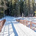 Bridge along the Red Trail.- Red Trail Snowshoe in Sugar Pine Point State Park