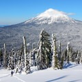 Mount McLoughlin dominates the skyline.- Brown Mountain Snowshoe