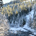 East Fork Hood River near the trailhead.- Tamanawas Falls Snowshoe