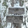 Trail cutoff to Tamanawas Falls.- Tamanawas Falls Snowshoe