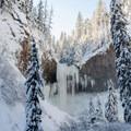Tamanawas Falls in winter.- Tamanawas Falls Snowshoe