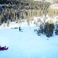 Mild slopes make sledding from higher up the hill okay for more daring children.- Big Bend Sledding Hill
