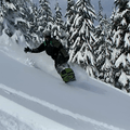Enjoying great snow on Kwhol Butte.- Kwohl Butte Backcountry Ski