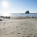 Pacific City Beach with Haystack Rock out in the distance.- Pacific City