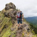 Hiking the ridge on the Pu'u Manamana Turnover Trail.- Pu'u Manamana Turnover Trail