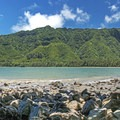 Looking back toward Pu'u Manamana from across Kahana Bay.- Pu'u Manamana Turnover Trail