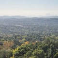 View over Pasadena with downtown Los Angeles in the distance.- Echo Mountain Hike via Sam Merrill Trail