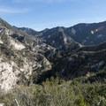 View of Arroyo Seco Canyon and the San Gabriel Mountains.- Switzer Falls Hike via Gabrielino Trail