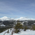 A view of the Three Sisters and Broken Top from the summit of Cinder Cone.- Cinder Cone Backcountry Ski