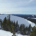 Looking west into the crater from Cinder Cone.- Cinder Cone Backcountry Ski