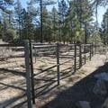 Communal horse stalls at Horse Flats Campground.- Horse Flats Campground
