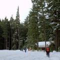The snowy parking area at Salt Creek Falls.- Salt Creek Falls + Diamond Creek Falls Snowshoe
