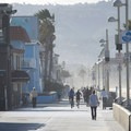 View south to The Strand in Hermosa Beach.- Hermosa Beach + Pier