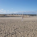 Sand volleyball courts on Hermosa Beach just north of the pier.- Hermosa Beach + Pier