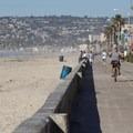 Bike path runs adjacent to the beach.- Mission Beach