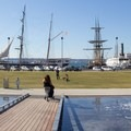 Waterfront Park and the historic ships of the San Diego Maritime Museum docked along the Embarcadero.- Embarcadero + Waterfront Park