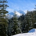 Fantastic views of Three Fingered Jack (7,844 ft) from the Mountain View Shelter.- Mountain View Shelter Snowshoe