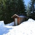 The outhouse at the Mountain View Shelter.- Mountain View Shelter Snowshoe
