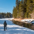 The first part of the loop runs along Donner Creek.- Donner Memorial State Park Snowshoe