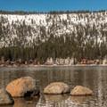 Many homes line Donner Lake.- Donner Memorial State Park Snowshoe