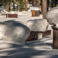 Creek Campground is hibernating for the winter.- Donner Memorial State Park Snowshoe