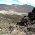 Looking north down the trail past basaltic outcroppings.- Fortification Hill Hike