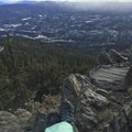 Resting at the top of Squaw Mountain.- Squaw Mountain Snowshoe
