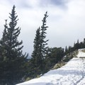 Snow thins out near the top.- Squaw Mountain Snowshoe