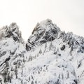 A closer look at the granite spires.- Castle Dome Snowshoe
