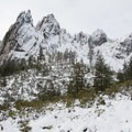 The first full view of Castle Crags.- Castle Dome Snowshoe