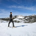 The saddle marks one of the only level stretches of the adventure, and it marks the beginning of the steep incline!- Donner Ridge Snowshoe via Johnson Canyon