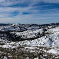 Panoramic view of the Sierra from the peak (7,932 ft).- Donner Ridge Snowshoe via Johnson Canyon