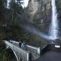 Benson Bridge and Upper Multnomah Falls (541 feet).- Multnomah Falls + Lodge