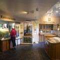 The Visitor Center at Multnomah Falls Lodge.- Multnomah Falls + Lodge