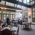 The restaurant at Multnomah Falls Lodge.- Multnomah Falls + Lodge