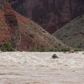 A dory sets a line through Hance Rapid.- The Grand Canyon of the Colorado River
