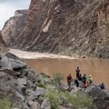 Boaters scout their line through Sockdolager.- The Grand Canyon of the Colorado River